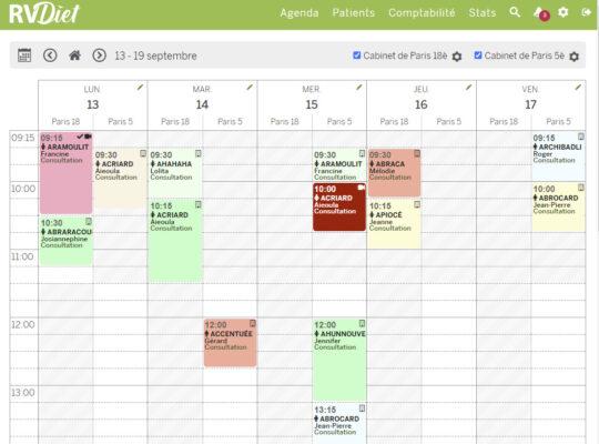 agenda logiciel diététicien